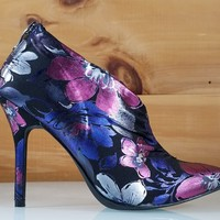 Mac J Purple Floral Pointy Toe High Heel Booties