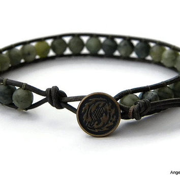 Mens Bracelet Leather Wrap Bracelet Multi Serpentine Single Wrap