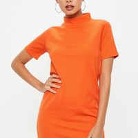Missguided - Orange High Neck Scuba Shift Dress