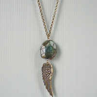 Wire Wrapped Agate Men Long Necklace with Antique Bronze Wing Charm, Green Semi Precious Stone, Unisex Jewelry