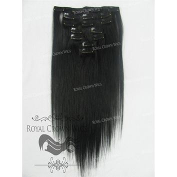 14 Inch 7 Piece Straight Human Hair Weft Clip-In Extensions in #1