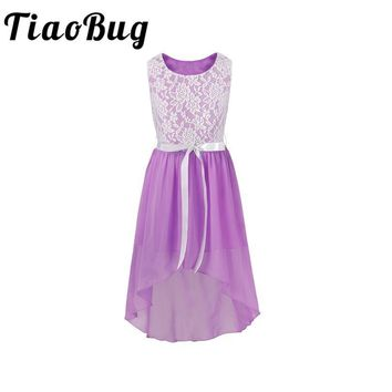 TiaoBug Floral Lace Flower Girls Dresses Kids Girls Chiffon Princess Pageant Prom Party First Communion Tulle Tutu Dress  6-14Y