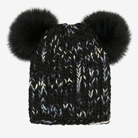 Eugenia Kim Mimi Double Fur Pom Knit Hat: Black at INTERMIX | Shop Now | Shop IntermixOnline.com