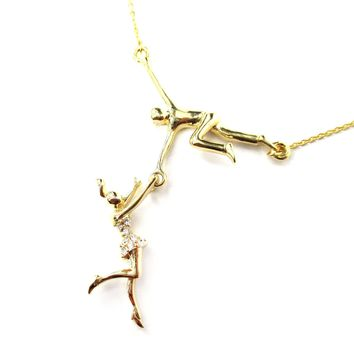 Trapeze Acrobat Pendant Gymnast Gymnastic Circus Themed Necklace in Gold | DOTOLY