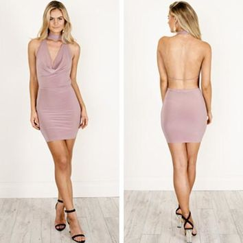 Solid Color Fashion Bodycon Pack Hip Backless Deep V-Neck Sleeveless Halter Mini Dress