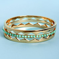 Peak-Me-Up Gold and Mint Bangle Set