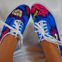 Blue Zombie Shoes (Hand painted)