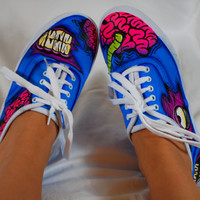 Handpainted Blue Zombie shoes