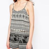 Daisy Street Romper In Elephant Print With Tie Detail at asos.com