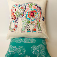 "Trunk Up Elephant Pillow- 12""x12"" Cover with blue elephant appliqué and teal stitch print backing"