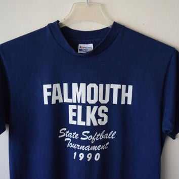 1990 State Softball Tournament, Falmouth Elks, Cape Cod, MA // Navy Sports Athletic T-Shirt, American Hipster Clothing // Hanes 50-50, Sz M