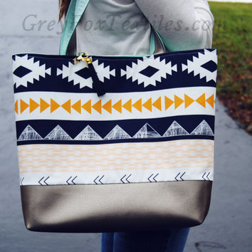 AZTEC TOTE BAG, tribal print shoulder bag, southwest market bag, Navy mint and coral reusable grocery bag