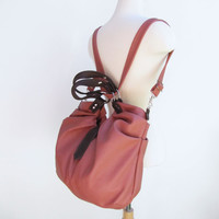 Pink leather satchel,  pleated hobo bag, messenger, backpack, shoulder tote, handheld bag - Rusty pink