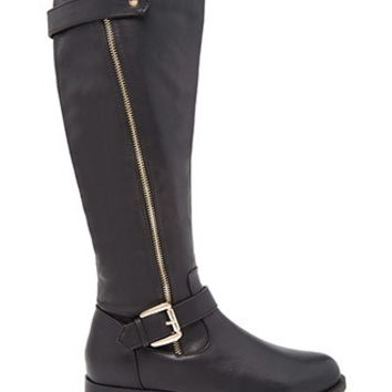 Knee-High Faux Leather Boots (Wide)