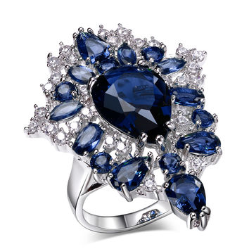 Sapphire Jewelry Big Flower Engagement Ring Brass Platinum Plated Wedding Bands Prong Setting CZ Crystal Jewelry for Women
