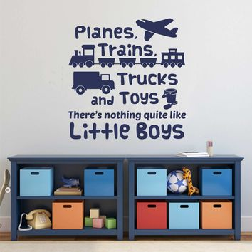 Planes Trains Trucks Boy Decal   Vinyl Wall Lettering   Wall Quotes