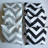 CHEVRON Cornhole bags - set of 8 - choose your own color combo - ACA regulation - corn hole - black white gray