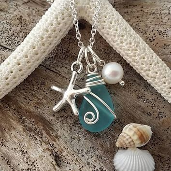 Handmade in Hawaii, Wire wrapped blue  sea glass necklace, Starfish charm, Fresh water pearl, Sterling silver chain. Beach jewelry gift.