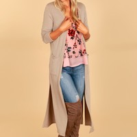 Lightweight Duster Cardigan Taupe Grey
