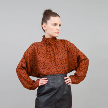 Vintage 80s Brown Silk Blouse GEOMETRIC Polka Dot High Neck Batwing Sleeve Top Medium Large M L