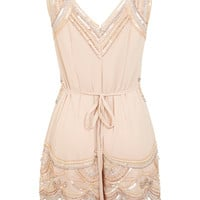 Nude Embellished Playsuit - View All - New In