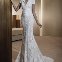 Elegant V-Neck Lace Embroidery and Chinese Button Design Women's Mermaid Wedding Dress