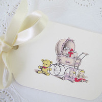 Baby Gift Tags - Baby Carriage - Buggy - Baby Shower - Favor Tags