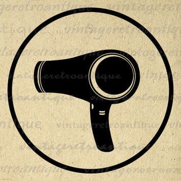 Hair Dryer Graphic Printable Download Blow Dryer Hair Salon Barber Digital Blowdrier Image Vintage Clip Art HQ 300dpi No.2037