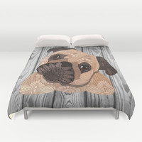 Pug Hug Duvet Cover by ArtLovePassion