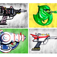 "Ghostbusters (Combo) Inspired Ray Gun Illustration 5 x 7"" Art-Print"