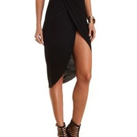 Asymmetrical Wrap Skirt by Charlotte Russe - Black