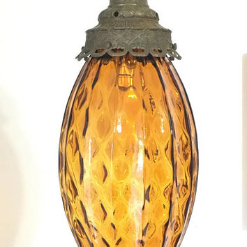 Mid Century Hanging Pineapple Lamp,  Cool Glass Hanging Light, Amber Colored Glass Plug In Light Fixture, Brass and Glass Hanging Lantern