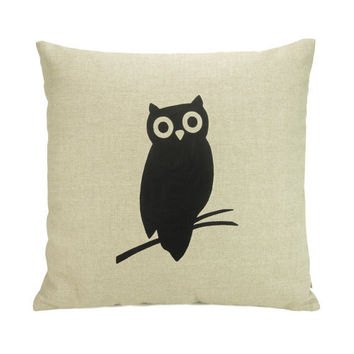 Black Modern Owl Print Silhouette on a Natural by ClassicByNature