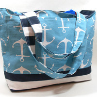 Extra Large Beach Bag in Coastal Blue Anchors