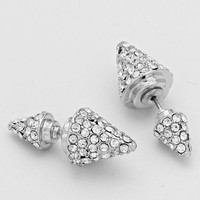 Silver Double Sided Rhinetone Cone Earrings