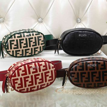 """FENDI"" Fashion Embossed Jelly Bag Pocket Chain Messenger Bag Women Solid Color Small Square Bag"