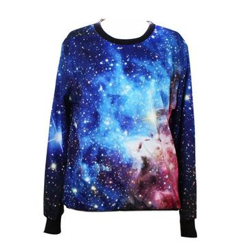 ONETOW 2015 New Galaxy Women Hoodies Space Digital Print Sweatshirt Harajuku Pullovers Tops (Color: Blue) = 1932084996