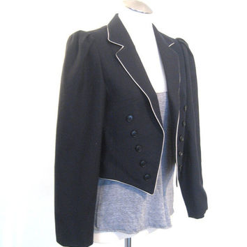 vintage Military Jacket / Band jacket / Womens Wool Blazer / Cropped Jacket / Piping Trim / Double Breasted Blazer / Navy Blue / Pure Wool