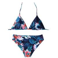 Sexy deep blue leaf print hanging neck back knot two piece bikini