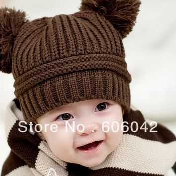 MOQ 1pcs new style retail fashion baby hat 18cm*17cm Baby Love Dual Ball Girls/Boys Knit Sweater Cap kid children Winter Hat