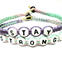 Stay Strong Bracelet Set, Multicolor Pastel Macrame Hemp