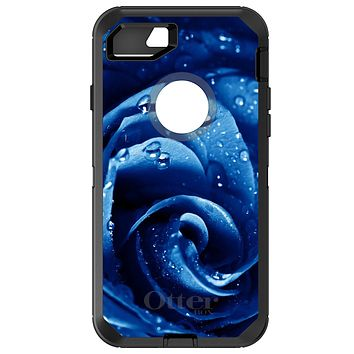 DistinctInk™ OtterBox Defender Series Case for Apple iPhone / Samsung Galaxy / Google Pixel - Blue Dew Covered Rose