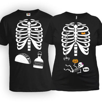 Halloween Pregnancy Announcement Baby Skeleton Shirt Taco And Tequila Ribcage T Shirt Couples Clothes Expecting Parents Gift MAT-21-167