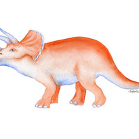 Triceratops Watercolor Painting - Giclee Print - 8 x 10 Dinosaur Art - Kids Art - Nursery Art