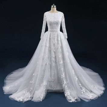 Lace Wedding Dresses long Sleeves With Detachable Train Robe