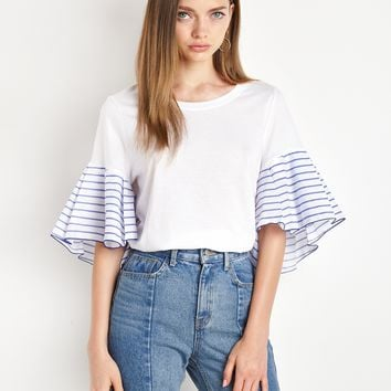 Striped Ruffled Sleeve White Tee