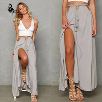 Women long Split lacing skirt 2016 Summer Solid Color  Maxi Skirts Women  Casual Skirts Hollow beach  skirt