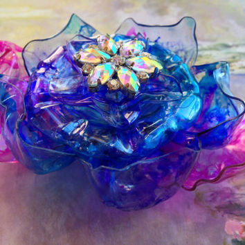 Claude Monet inspired Pink and Blue Flower with Iridescent Rhinestone Center, Pin, Brooch or Magnet, Plastic Bottle, Art Jewelry