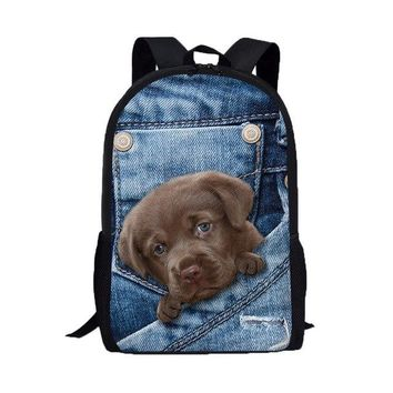 University College Backpack 3D Animal Print Cat Dog  Women Fashion s Male Travel  Student School  Shoulder Bags MochilaAT_63_4