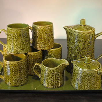 Noritake Giftcraft Set, Tea/Coffee Pot, 6 Mugs, Lidded Sugar Bowl, Creamer and Tray